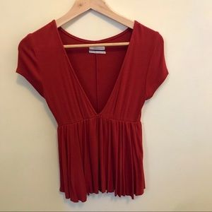 Urban Outfitters Deep V Baby Doll Shirt